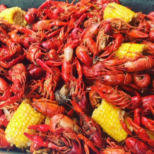 Crawfish and corn served at a shop near the hotel
