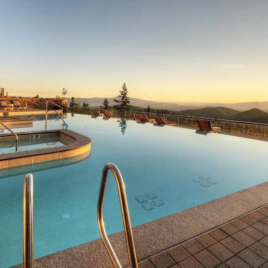 Stein Eriksen Residences pool at sunset