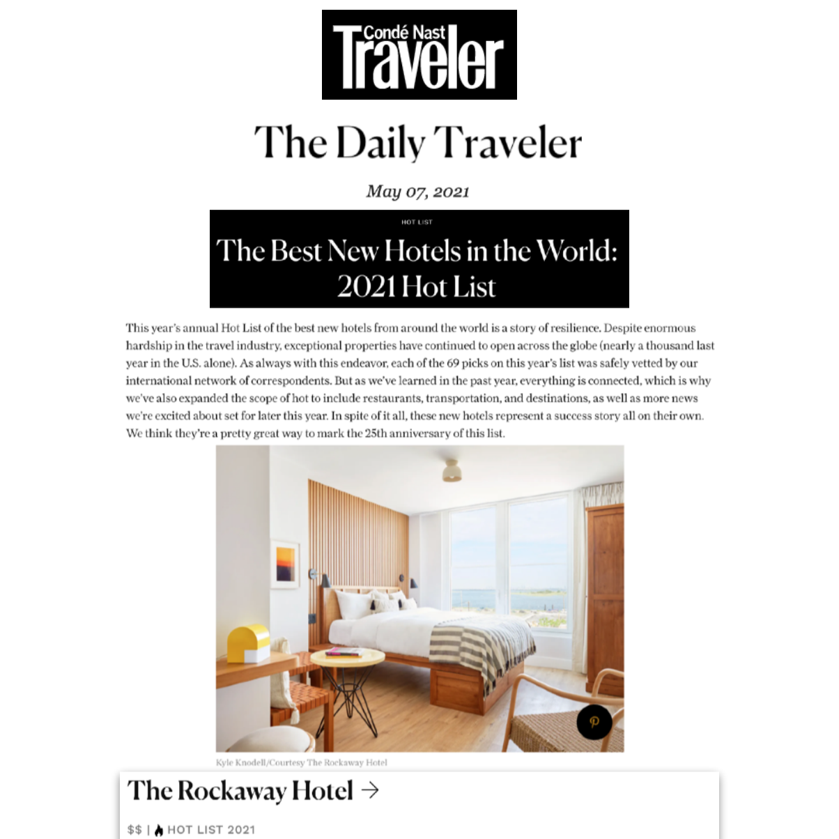 Article from The Traveler about The Rockaway Hotel