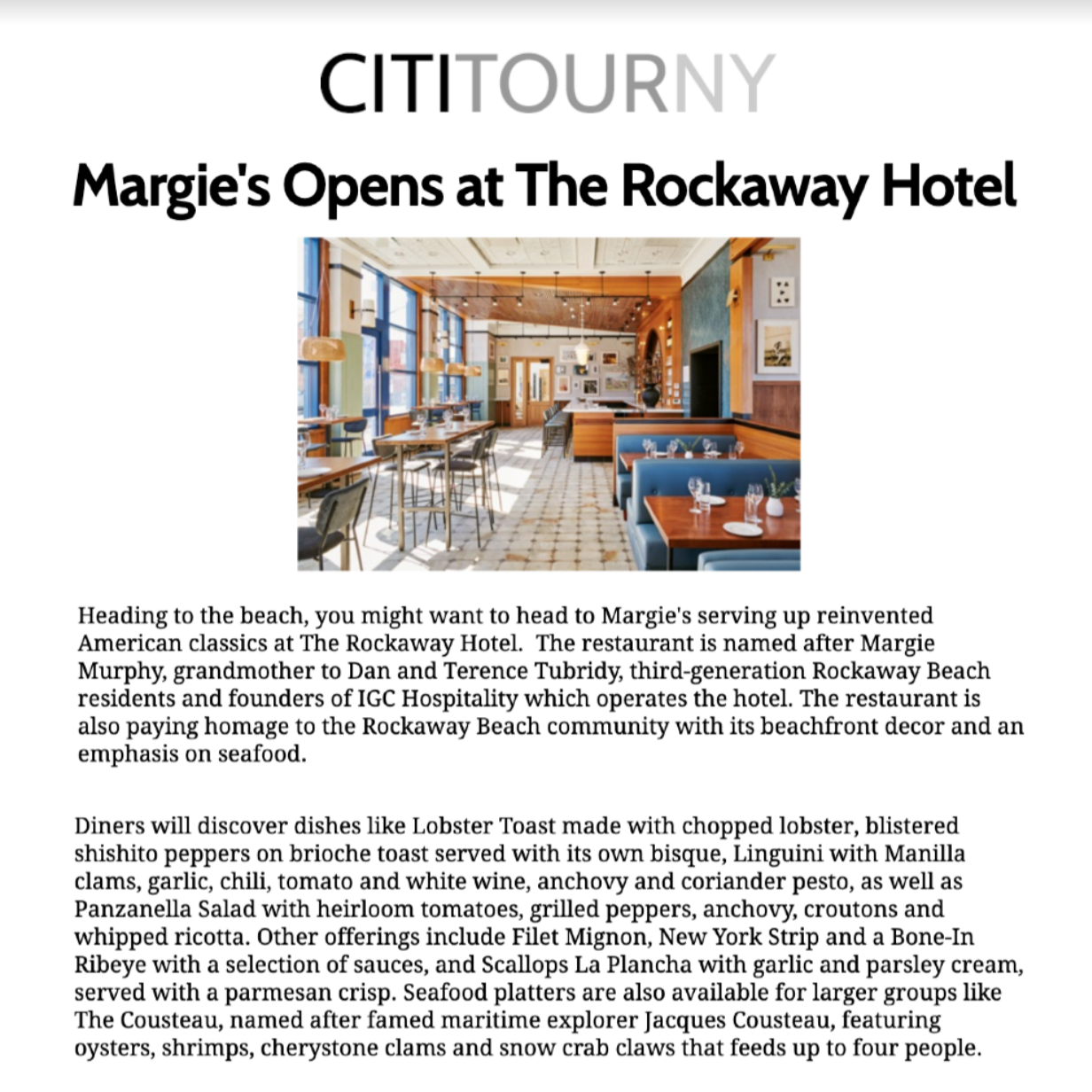 Article about The Rockaway Hotel in Cititourny by Cititour.com