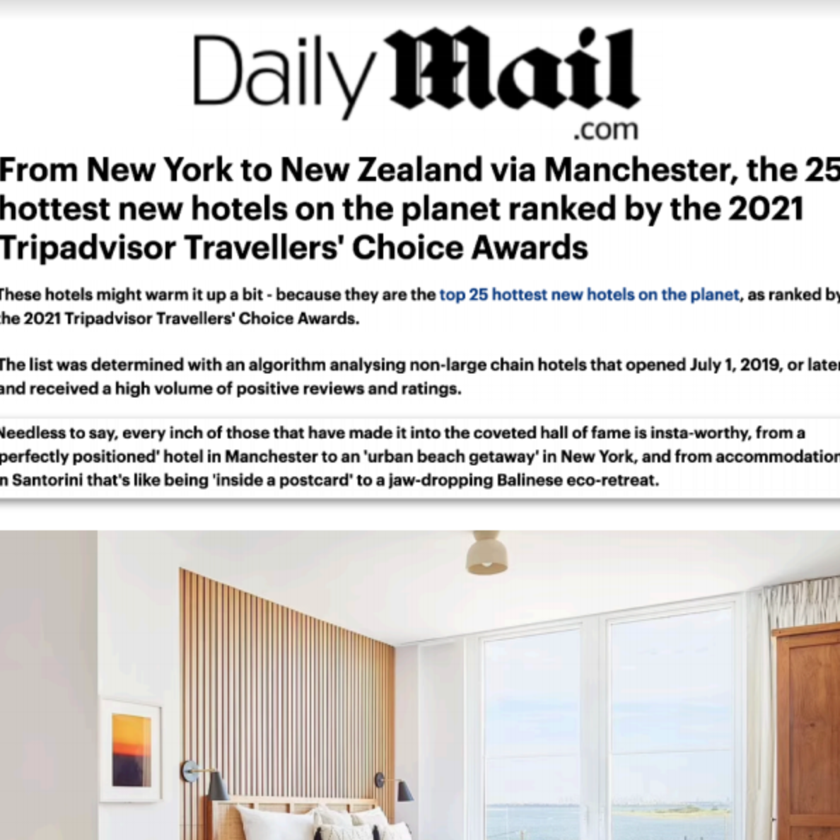 Article about The Rockaway Hotel in Daily Mail