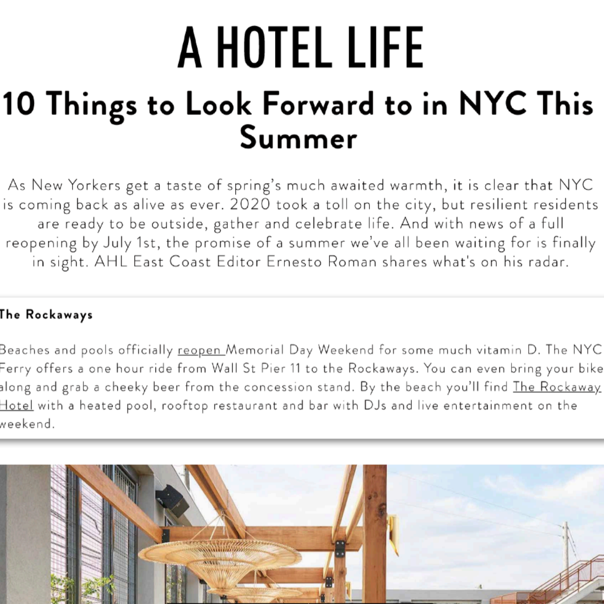 Article about The Rockaway Hotel in Hotel Life