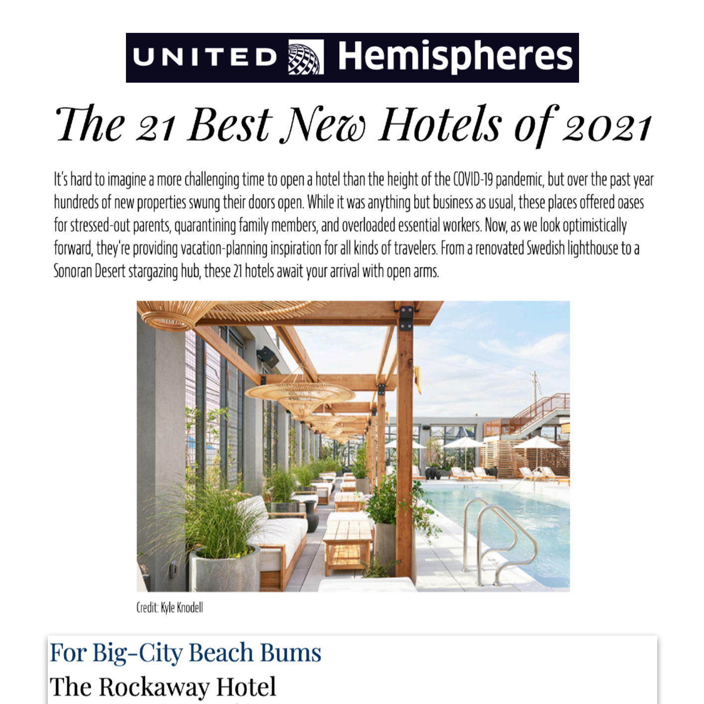 Article about The Rockaway Hotel in United Hemispheres
