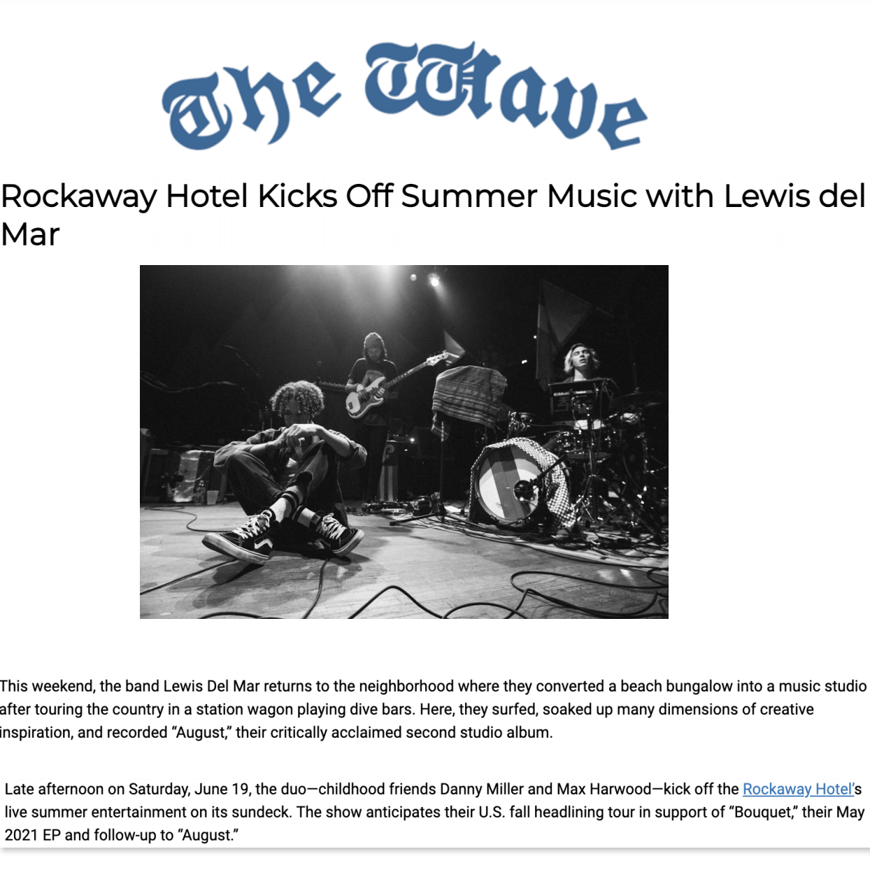 Article about The Rockaway Hotel in The Wave by Cara Cannella