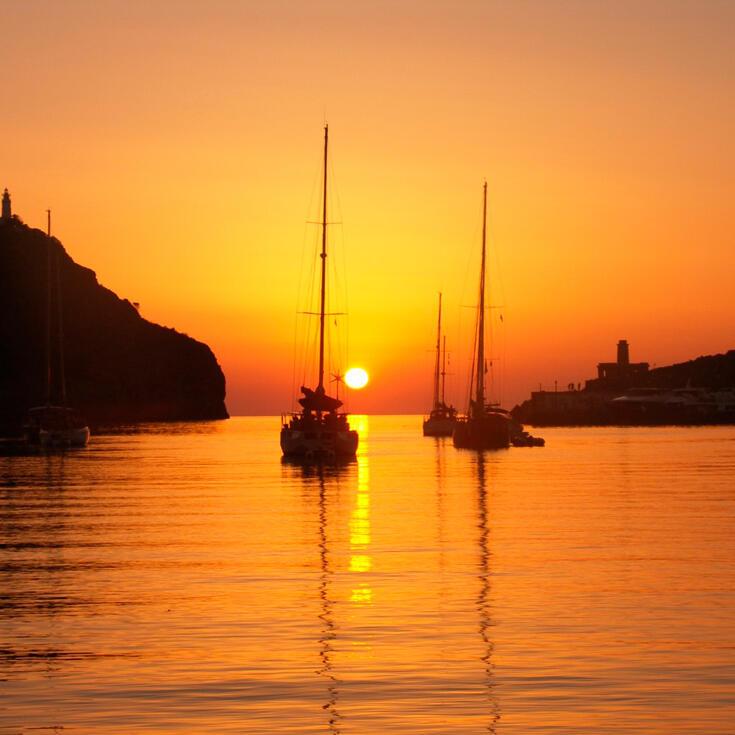 Coucher de soleil sur la plage de Port de Soller, Puerto de Soller