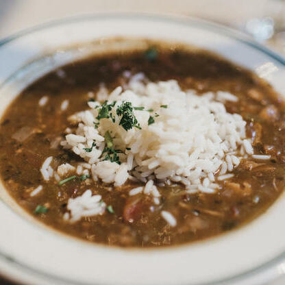 Gumbo and rice served at St. James Hotel