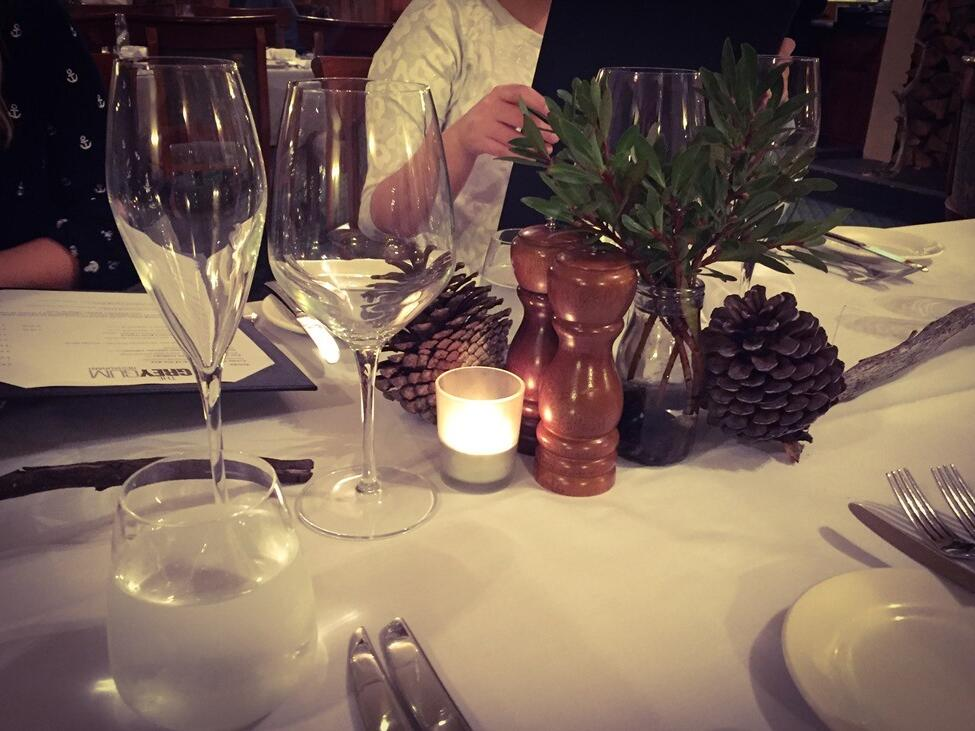 Table decoration at the restaurant in  Cradle Mountain Hotel