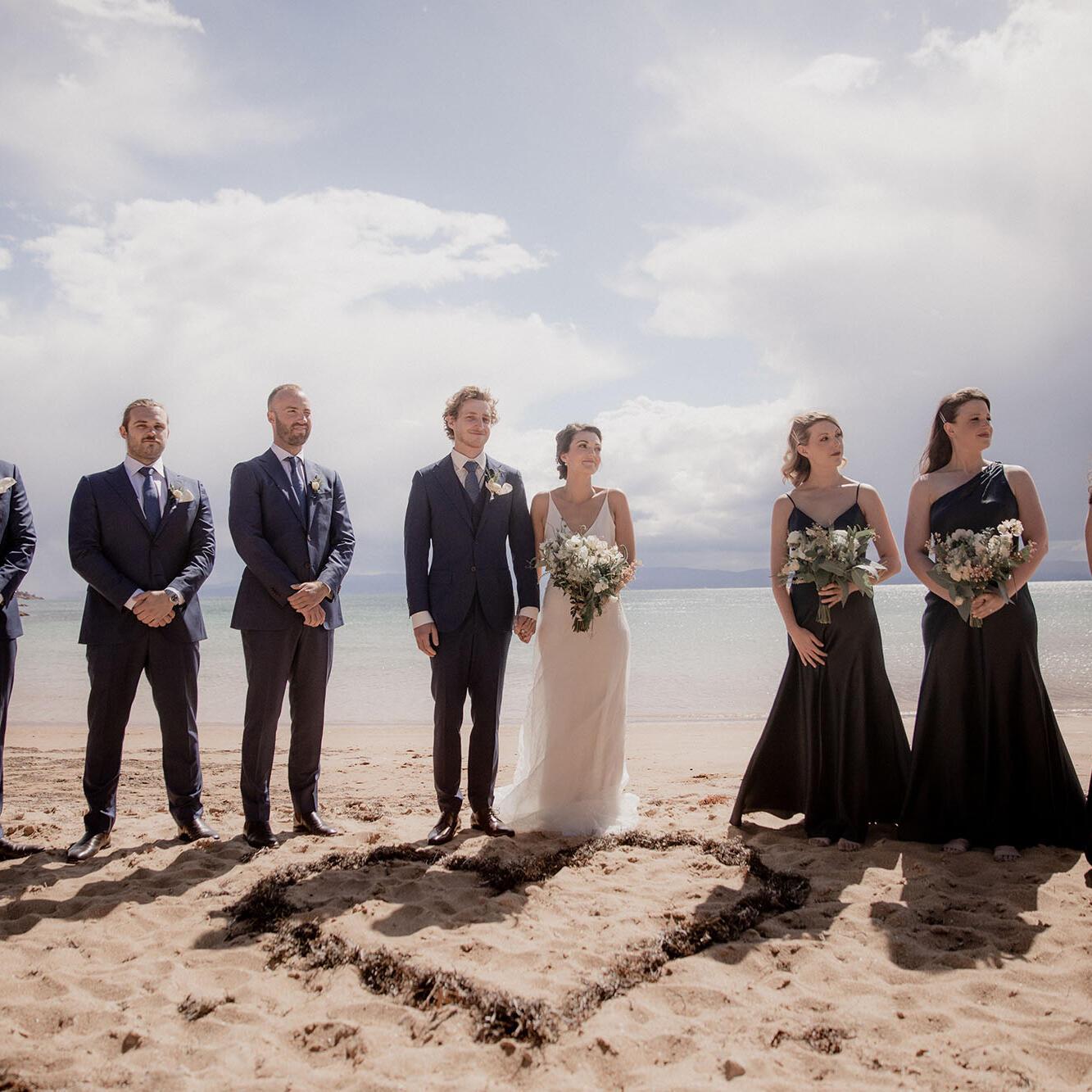Beach Wedding ceremony at Freycinet Lodge