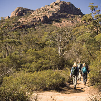 People on a Hike at the mountain near Freycinet Lodge