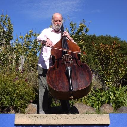 Man playing a double bass violin at Freycinet Lodge