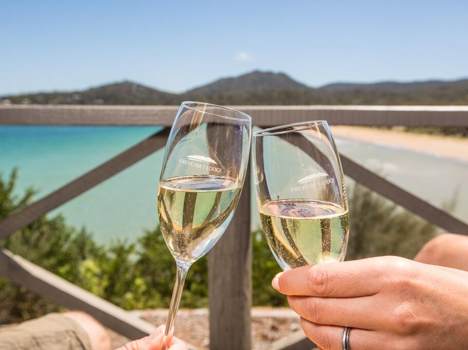 champagne glasses at the Freycinet Lodge