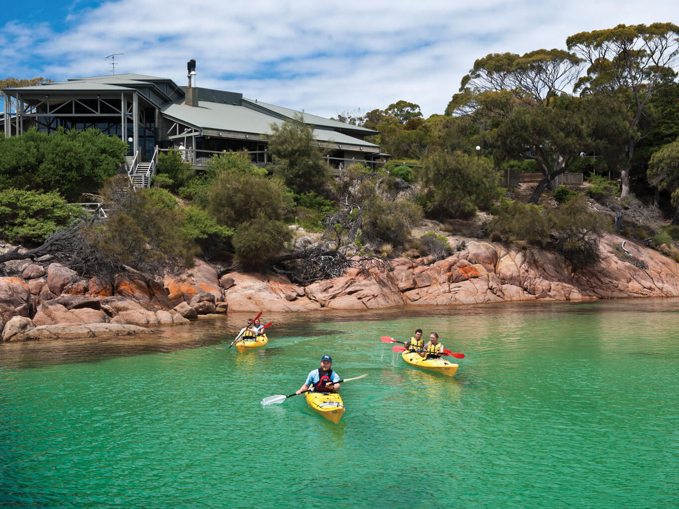People on Kayaking at the Great Oyster Bay in  Freycinet Lodge