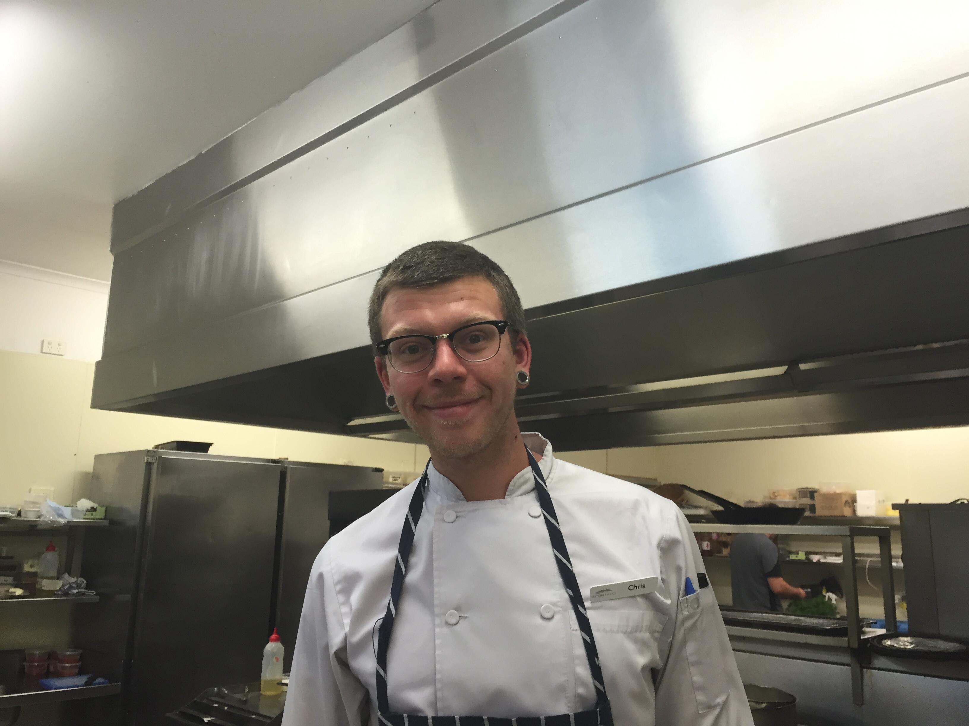 Chef ina restaurant at Freycinet Lodge