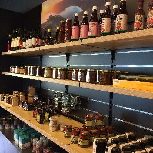 Shelf with Products at the shop near  Freycinet Lodge