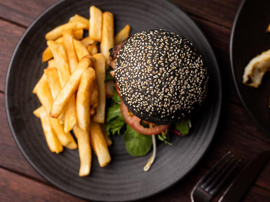Burger dish at Hamer's Bar & Bistro in Strahan Village
