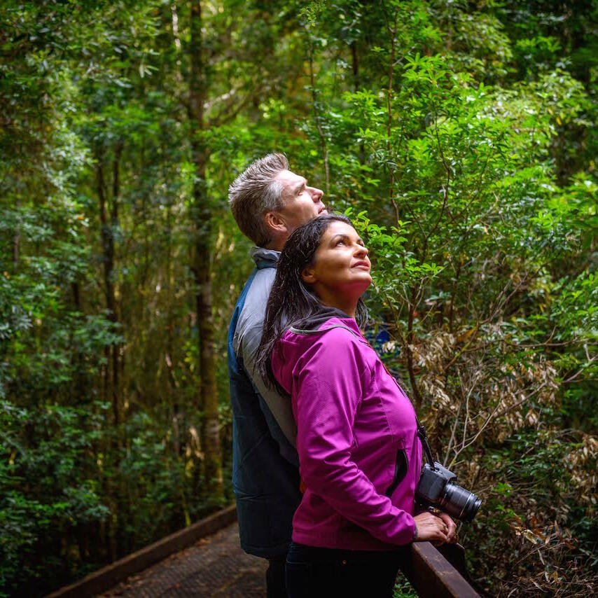 Couple at the Rainforest near the Strahan Village