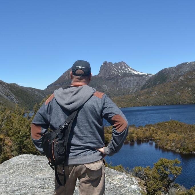Man at the Cradle Mountain near the Strahan Village