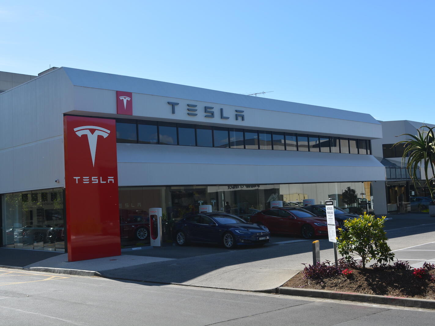 Exterior view of Tesla near the Strahan Village