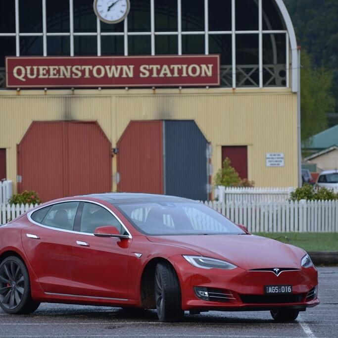 Tesla Electric car at Queenstown Station near Strahan Village