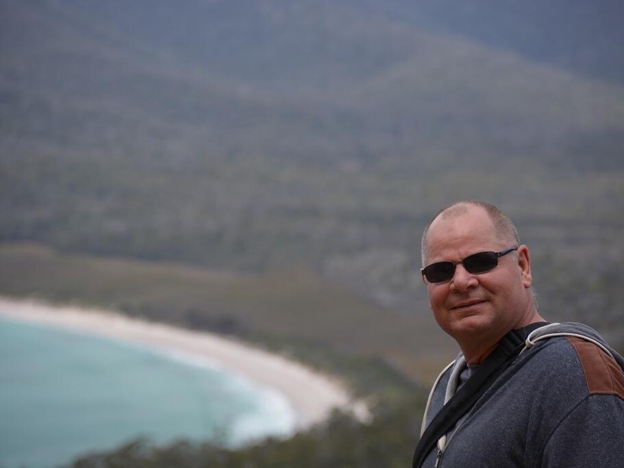 Man at the Mountain near the Strahan Village