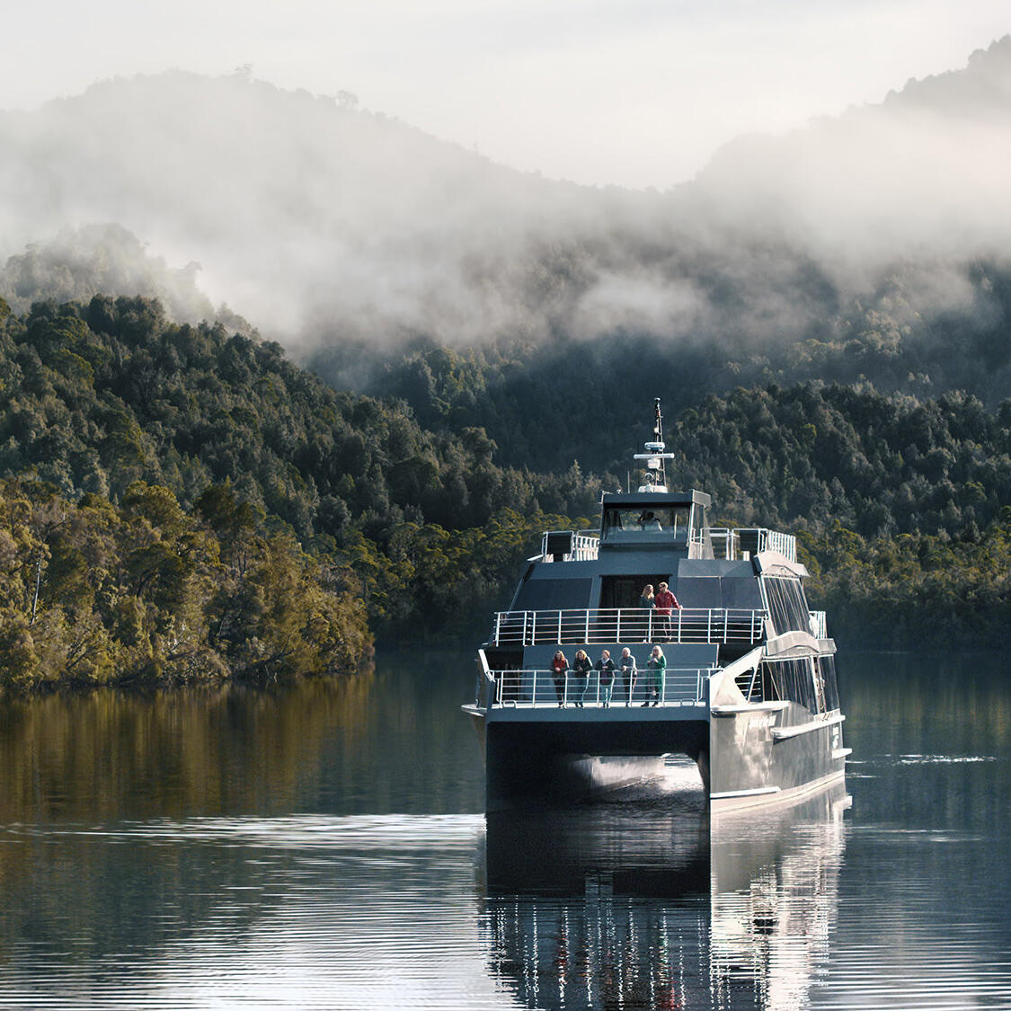 Front view of Cruise ship at Gordon River near the Gordon River Cruises