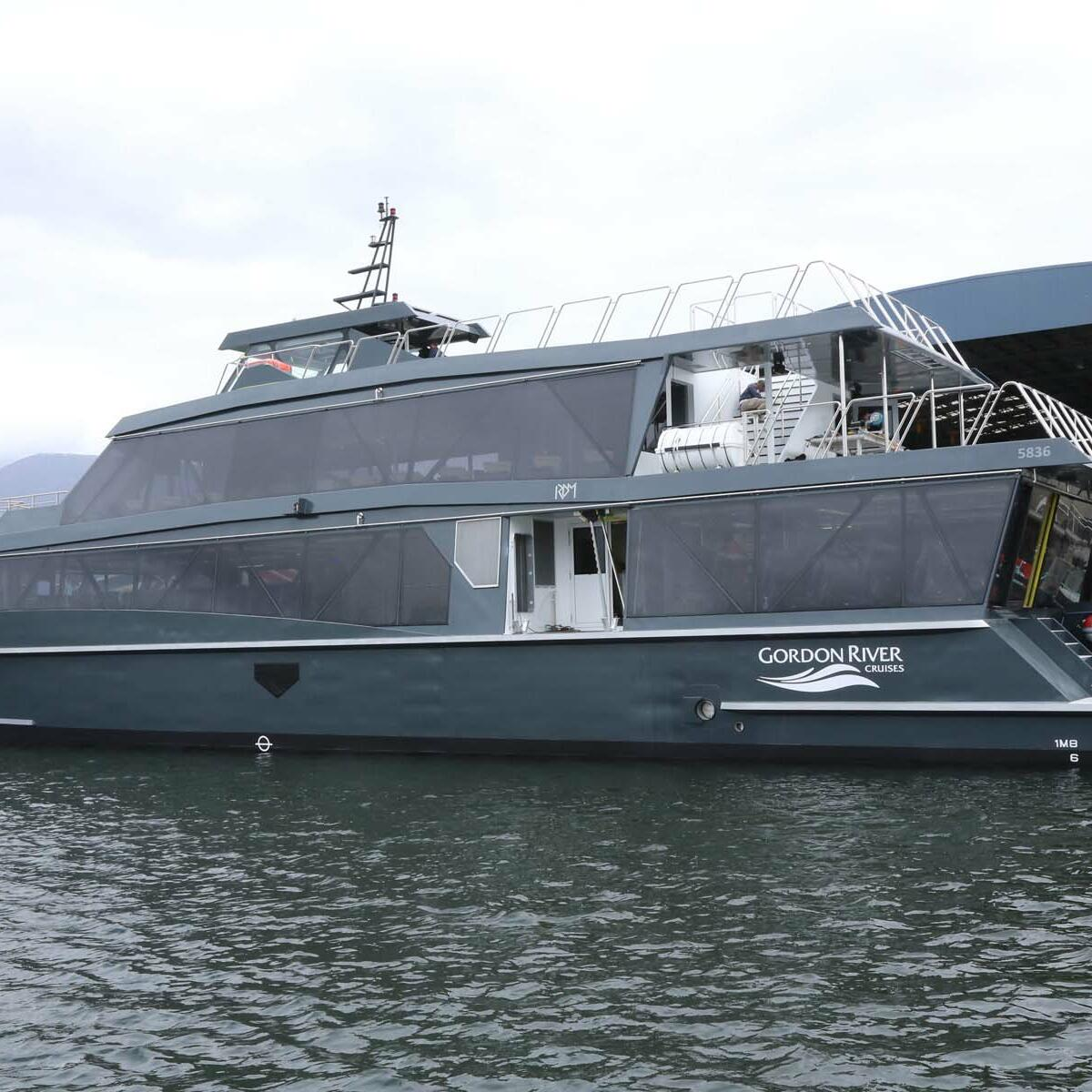 Vessel  at the river near Gordon River Cruises