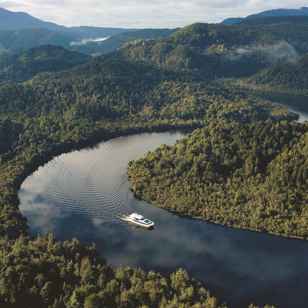 Cruise ship at Gordon River near the Gordon River Cruises