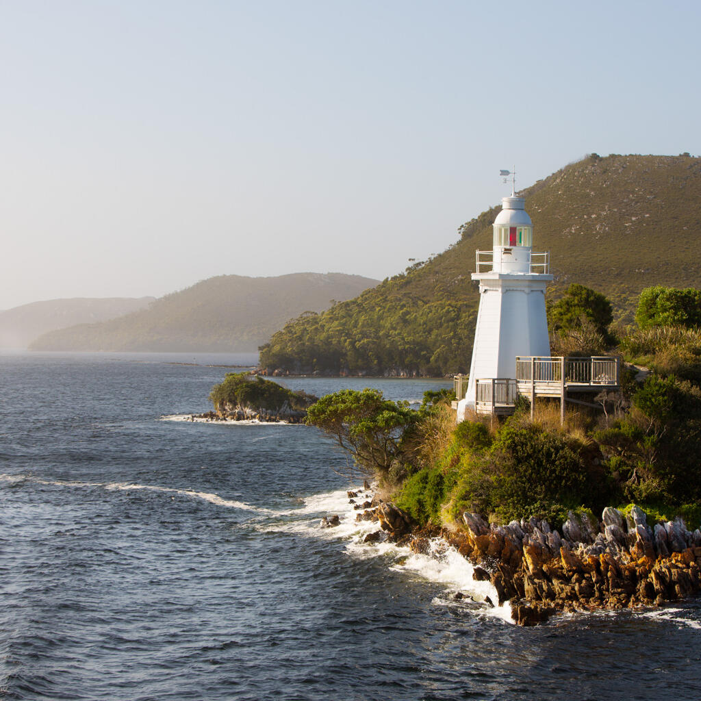 View of lighthouse at Gordon River Cruises