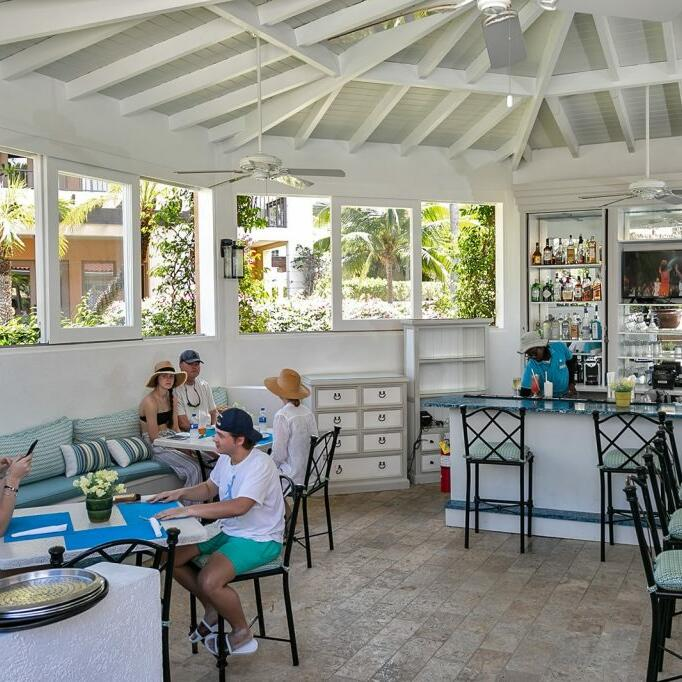 Seating area at LunaSea Pool Bar & Grill in Somerset Grace Bay