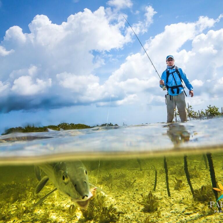 Man Bone-fishing in Turks & Caicos near Somerset On Grace Bay