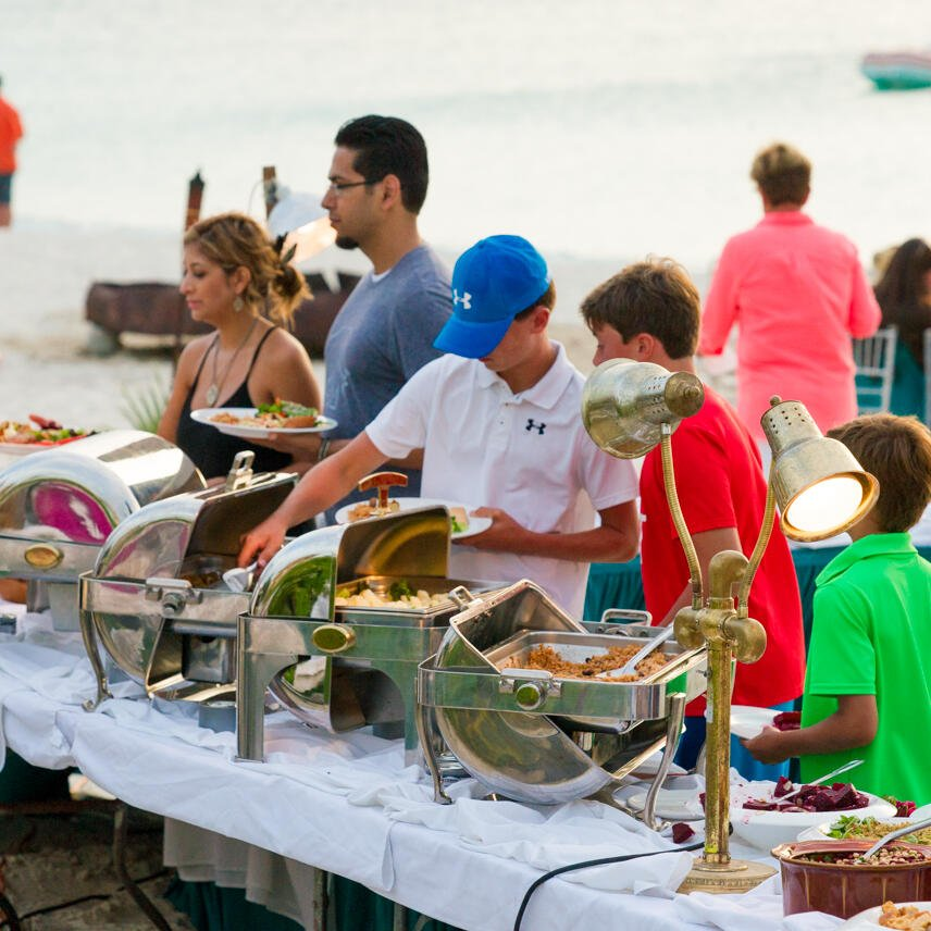 Buffet at the beach in The Somerset On Grace Bay