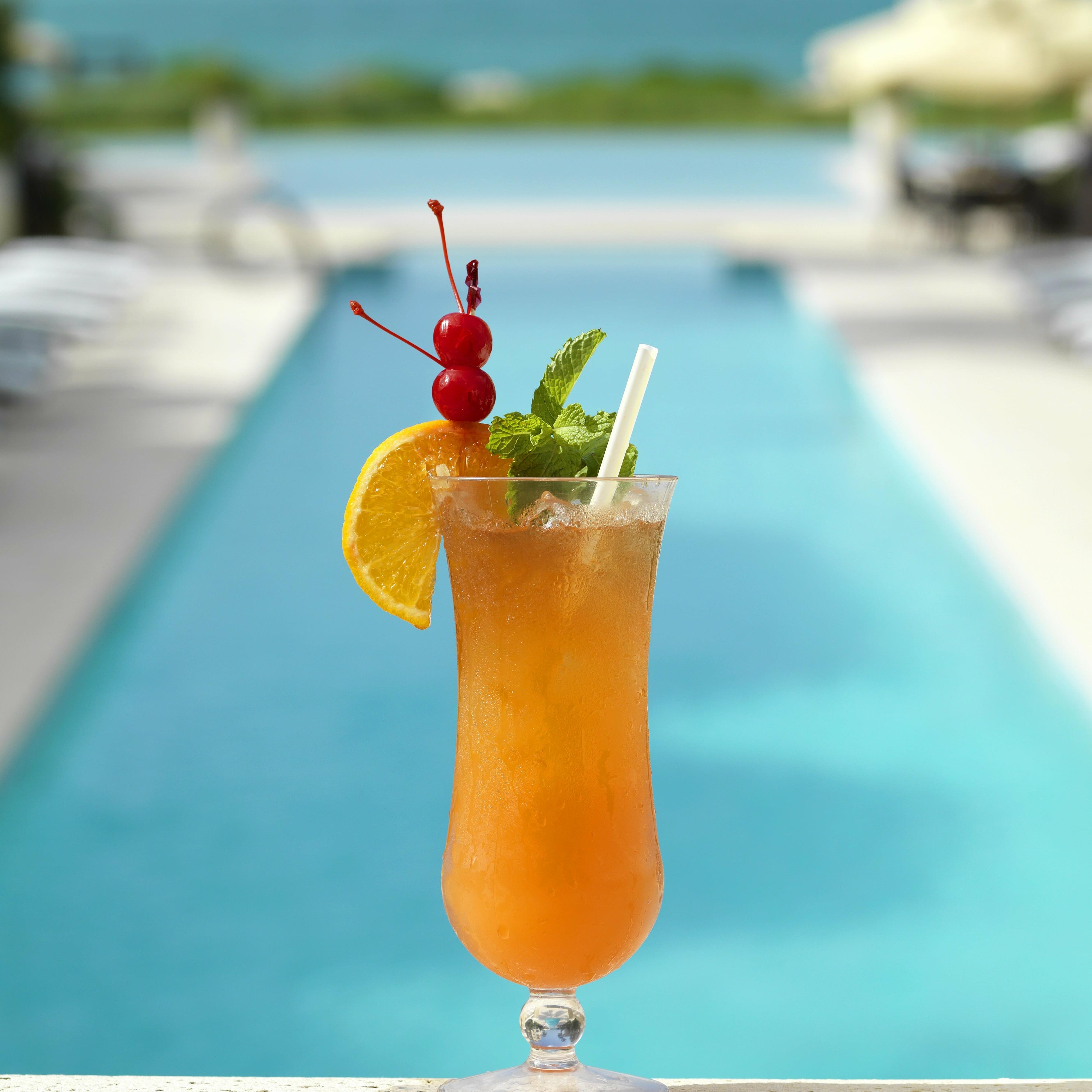Iced Soft drink by the pool at The Somerset On Grace Bay