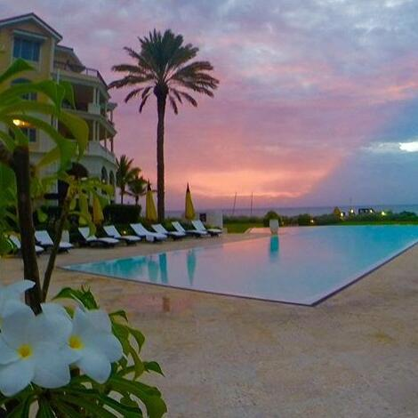 View of the pool at the evening at Somerset On Grace Bay