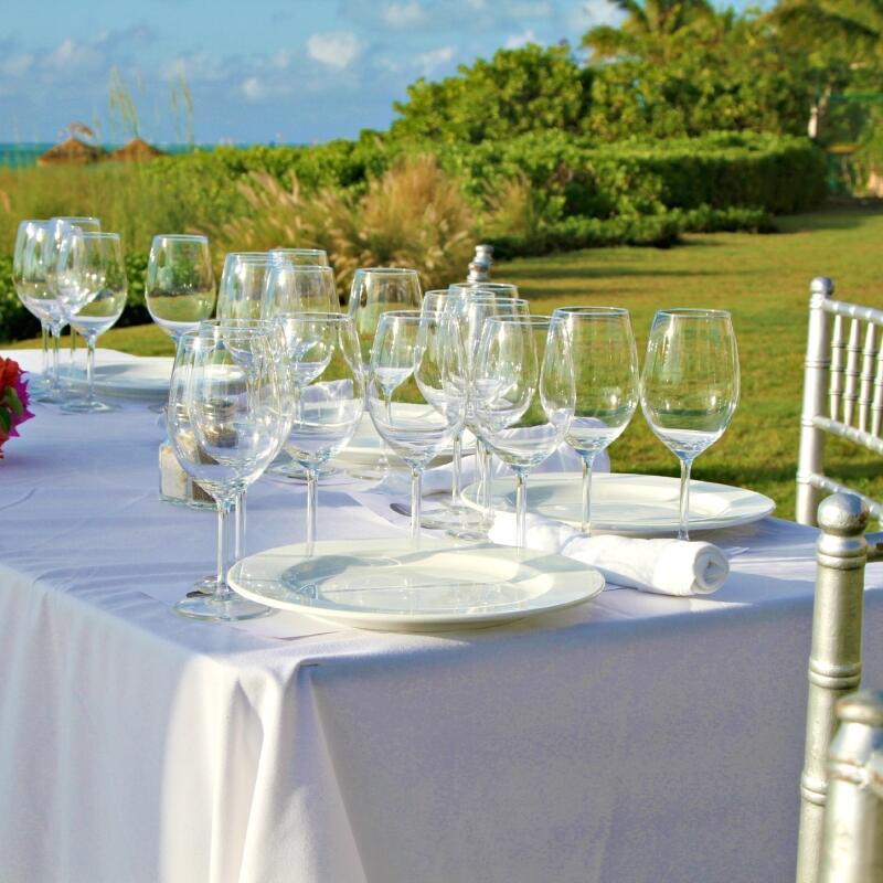 Table arranged for dining at The Somerset On Grace Bay