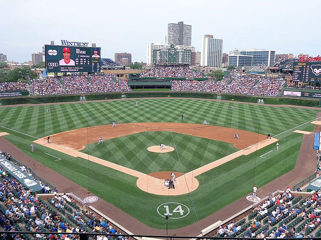 View of baseball diamond at Wrigley Field