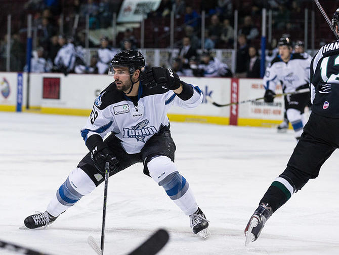 Mitch Moroz of the Idaho Steelheads competing in a home game