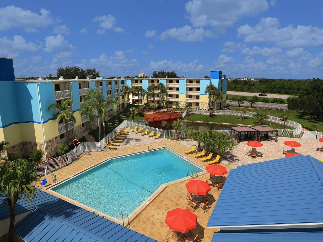 aerial view of resort and pool