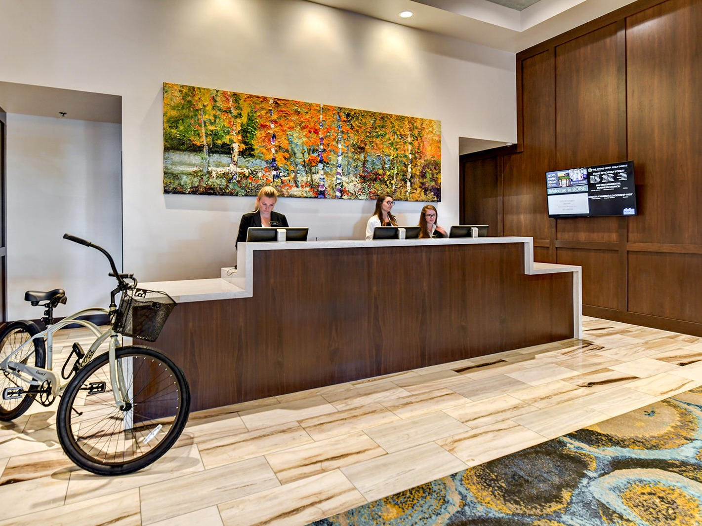 a bike at the front desk of the Grove Hotel