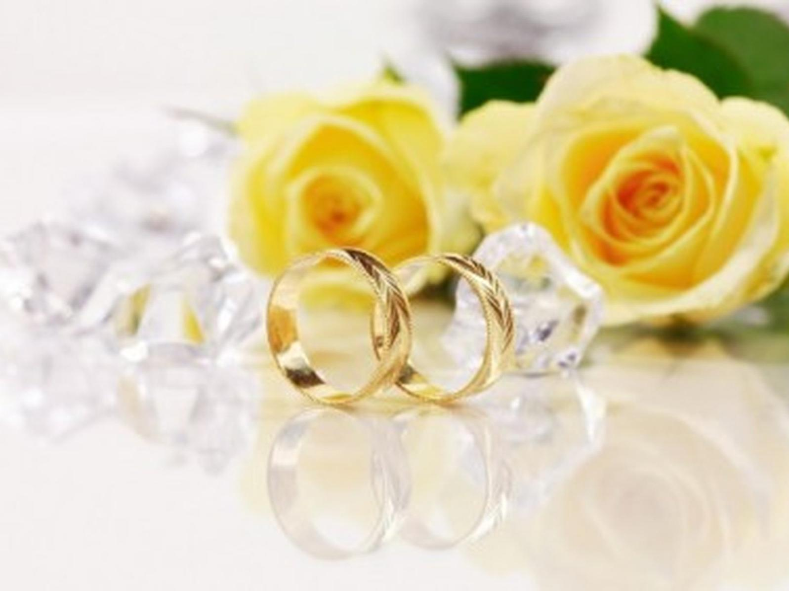 two golden rings and roses