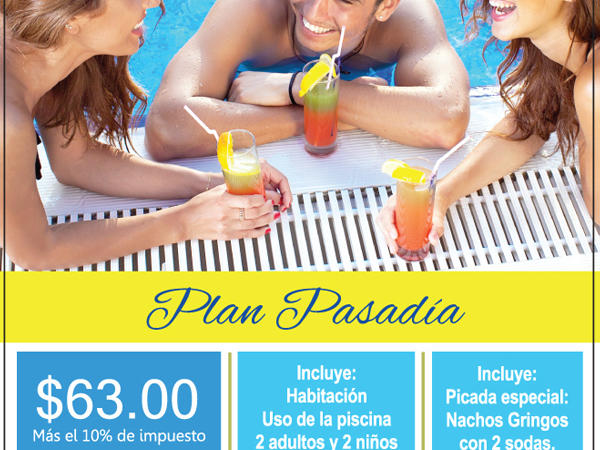 flyer for day package with group at the pool
