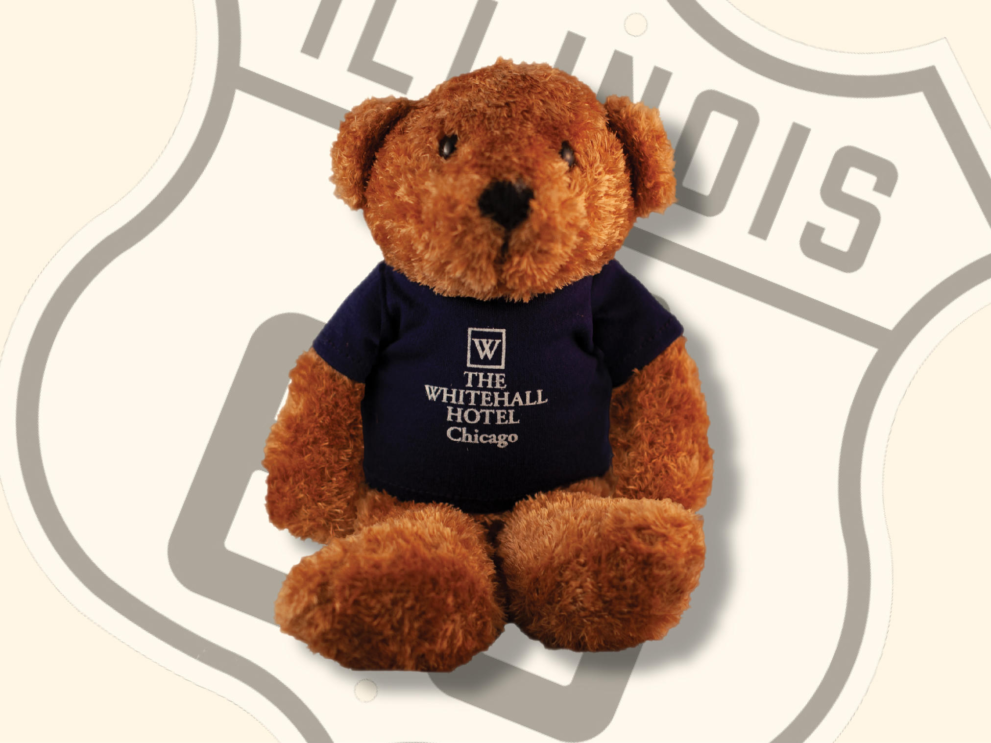 Teddy bear in The Whitehall Hotel shirt