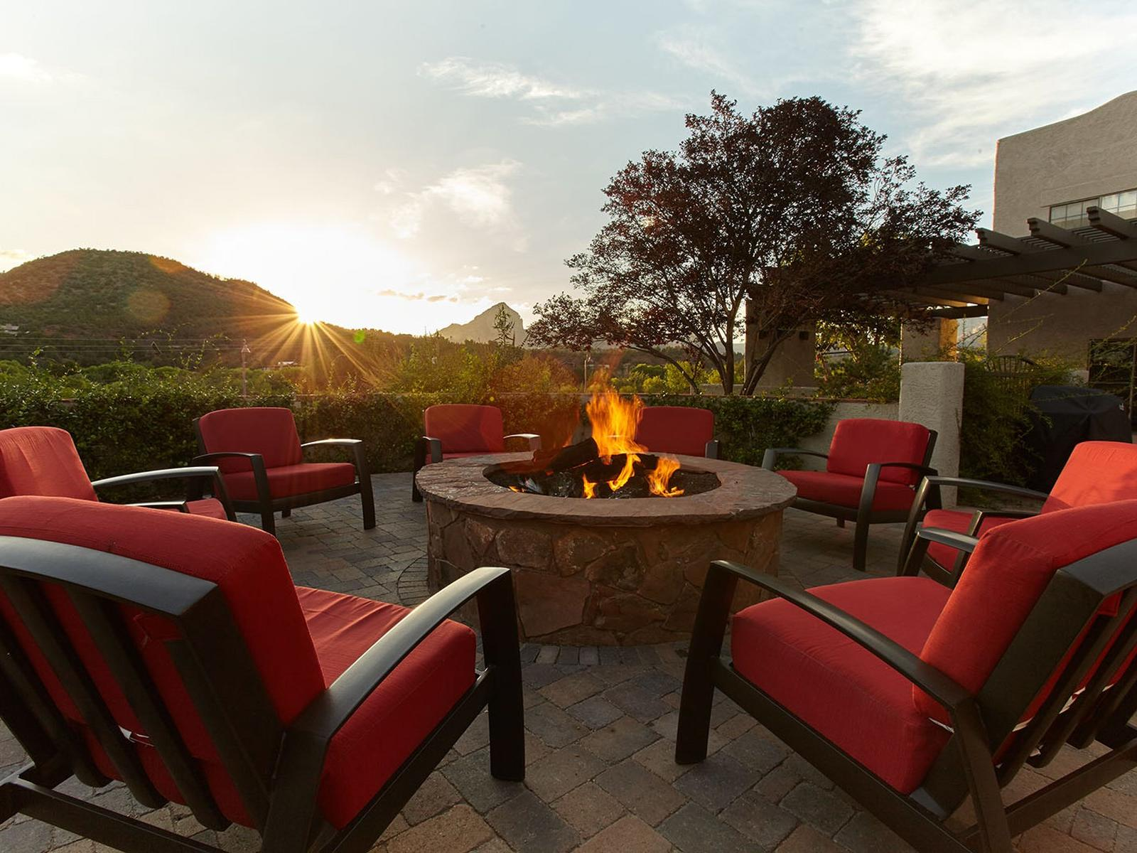 Fire pit under the Arizona sunset.