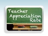 Chalkboard that reads Teacher Appreciate Rate.