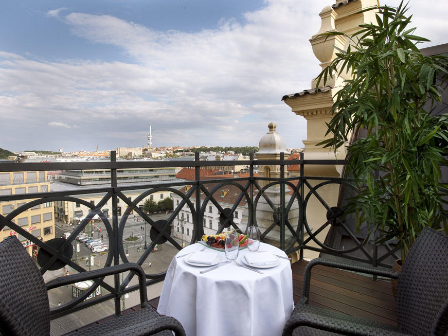 Tower Suite terrace at Hotel KINGS COURT in Prague