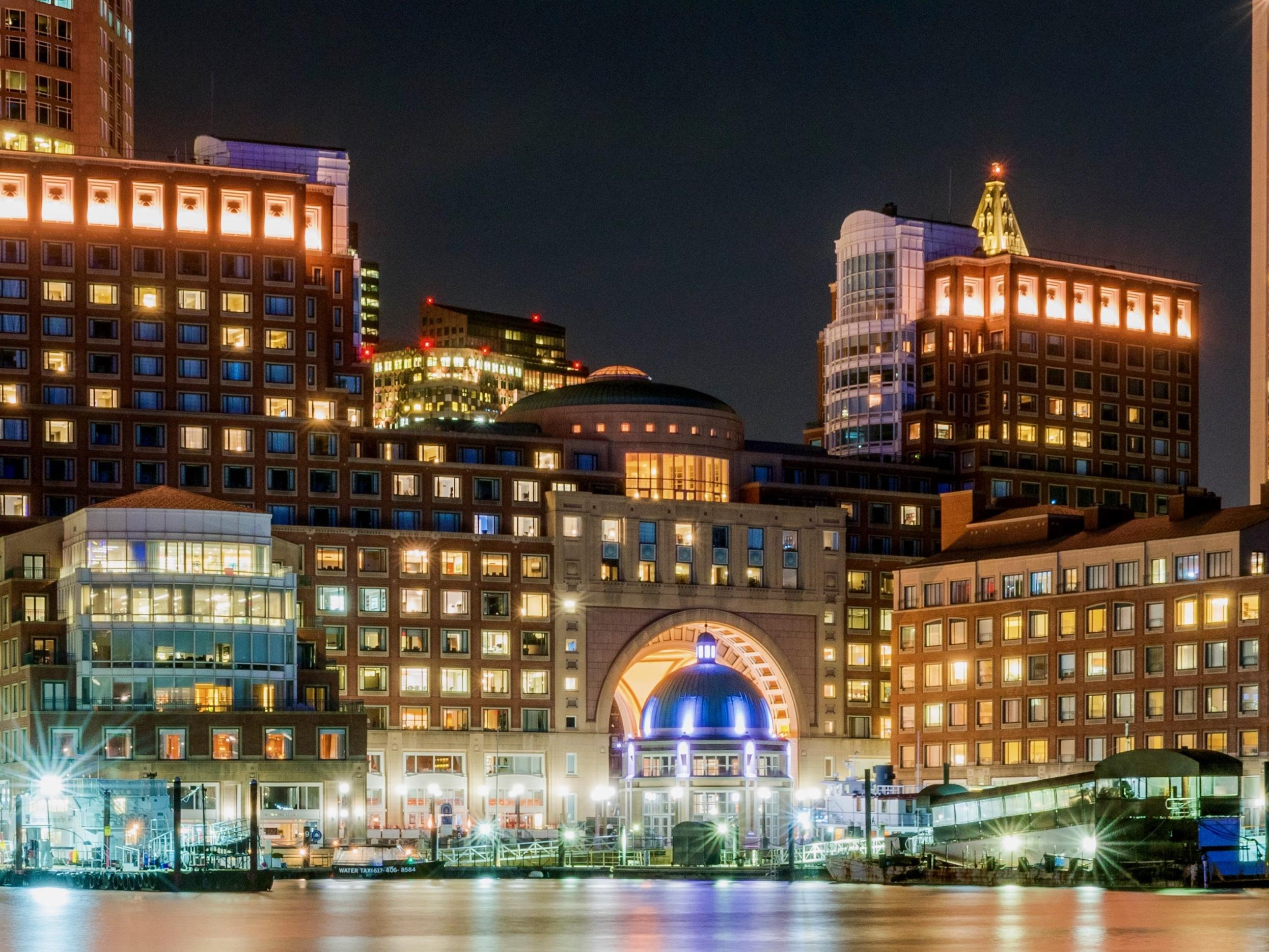 Boston Harbor Hotel exterior at night