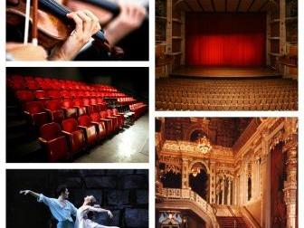 Collage of photos featuring theater events