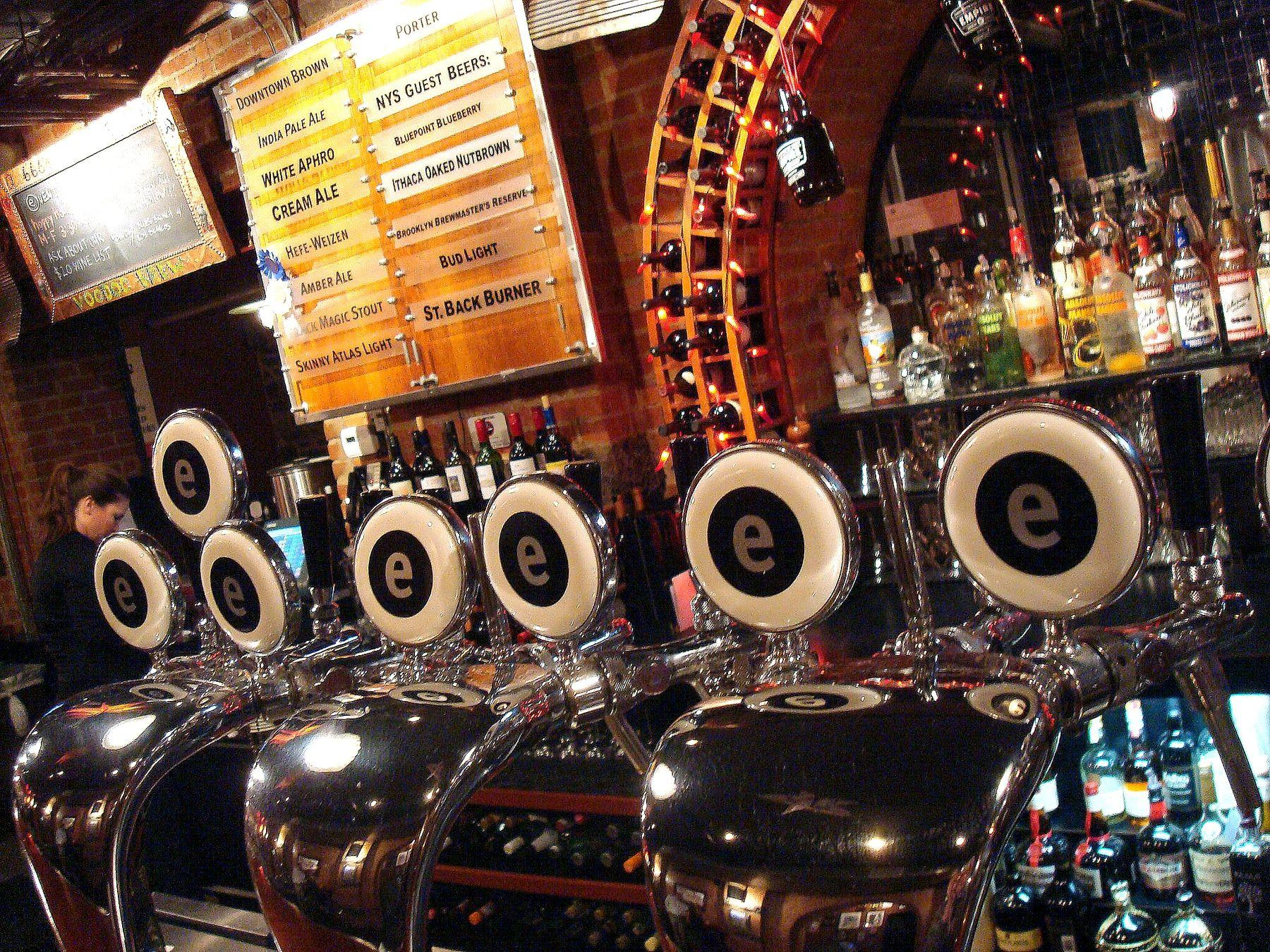Beer taps at brewery