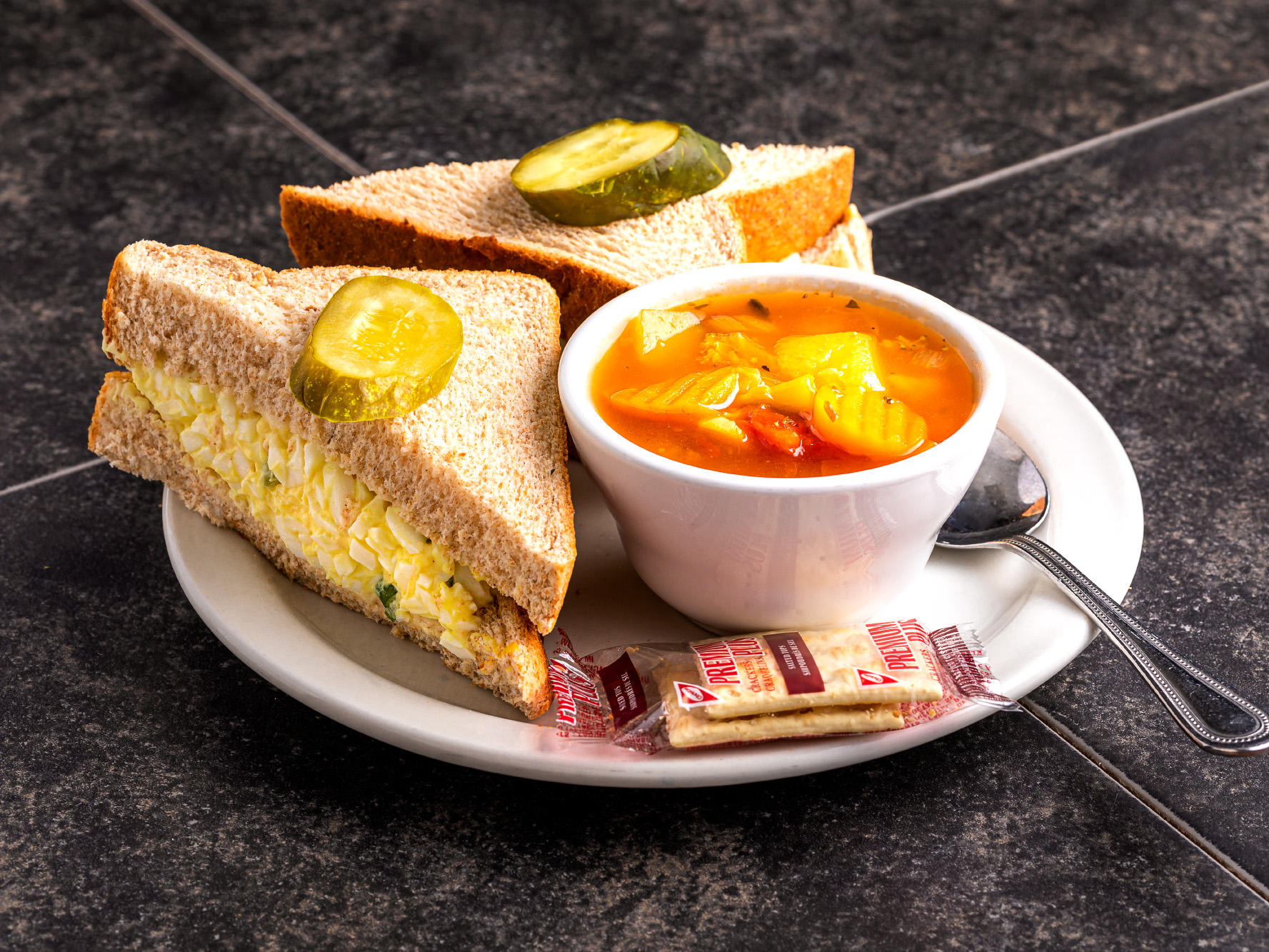 soup and sandwich on a plate