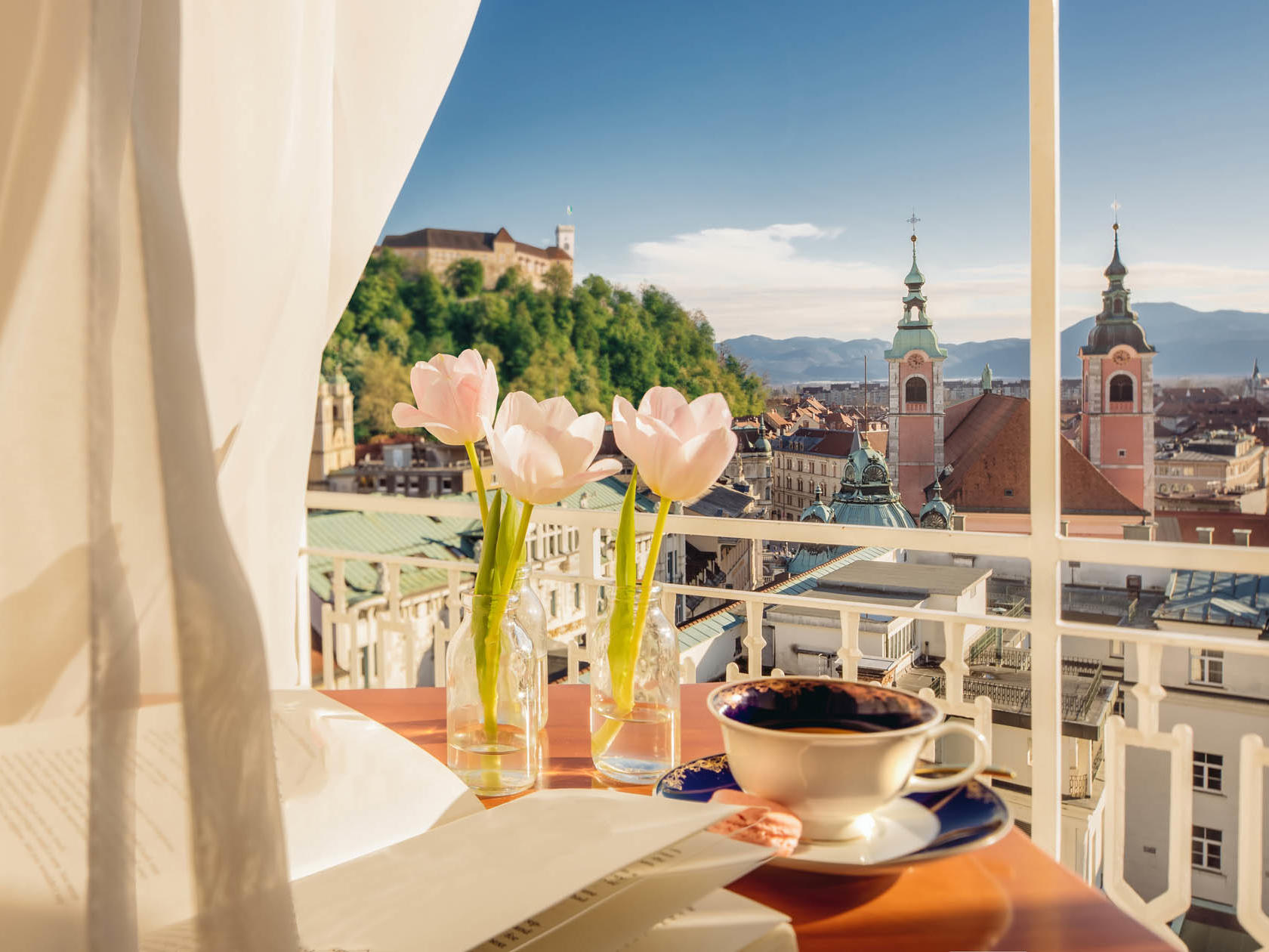 A room with a view at Union Hotels Collection in Ljubljana