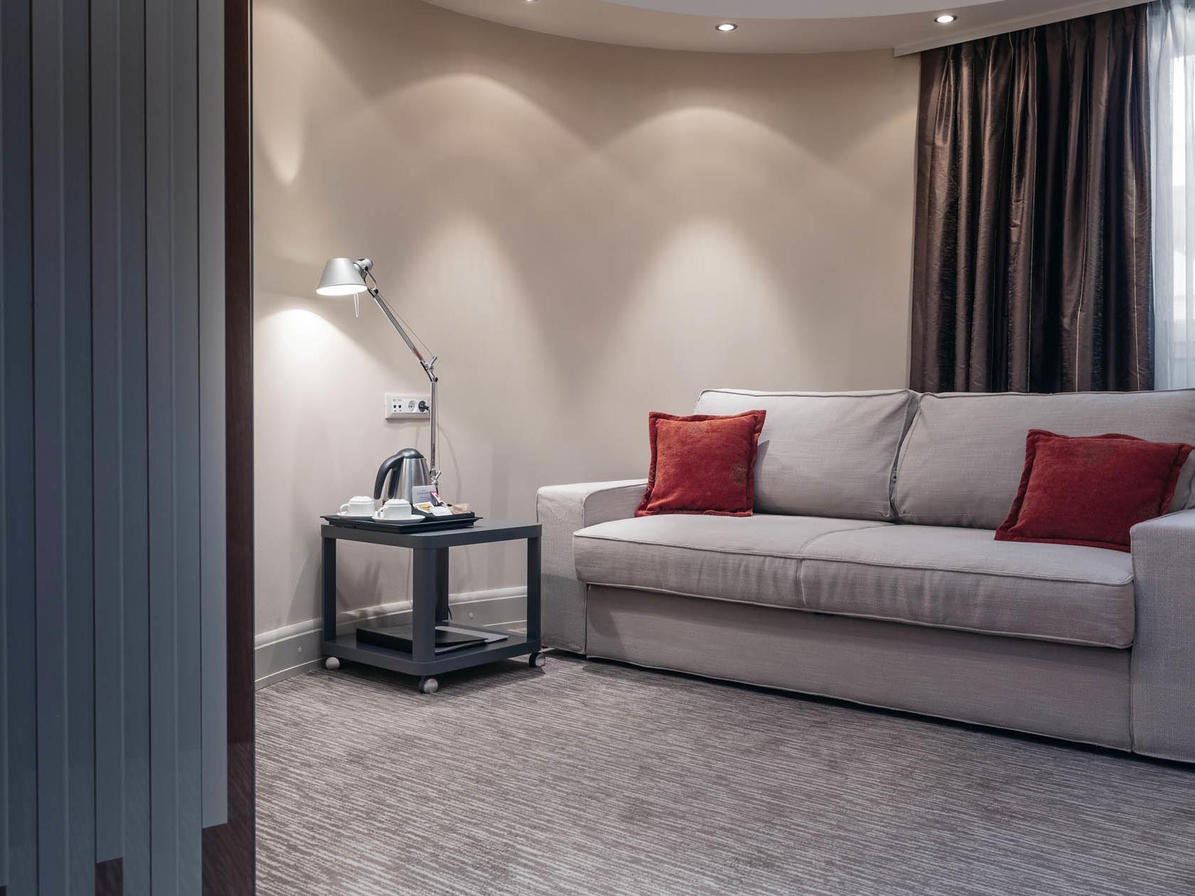A sofa in a hotel